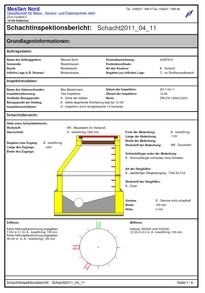 Shaft / manhole inspection report according to EN 13508-2, generated by software SHAFT-INSPECTOR